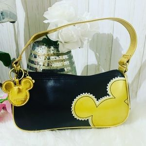 Disney Store Mickey Mouse Black Gold Purse Handbag